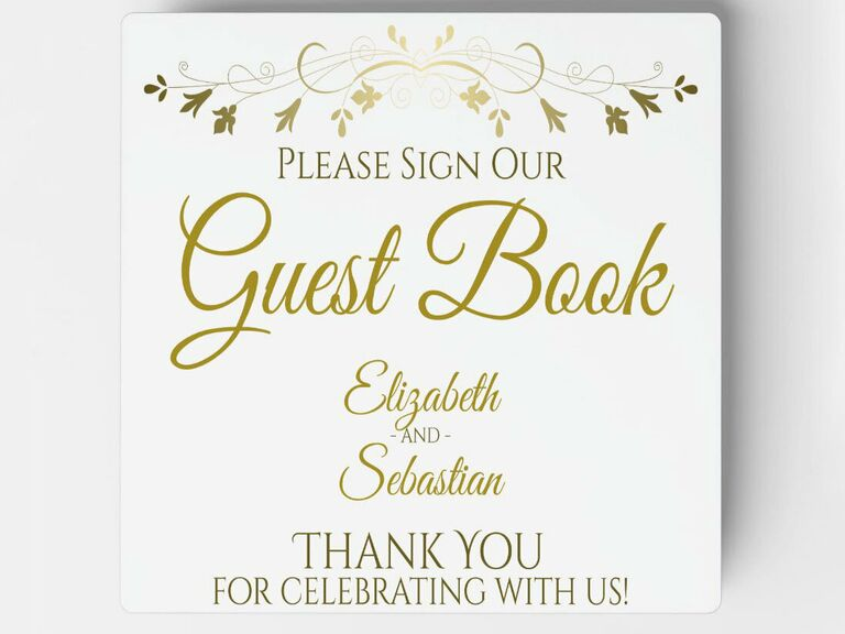 Gold foil calligraphy and vine border with couple's names