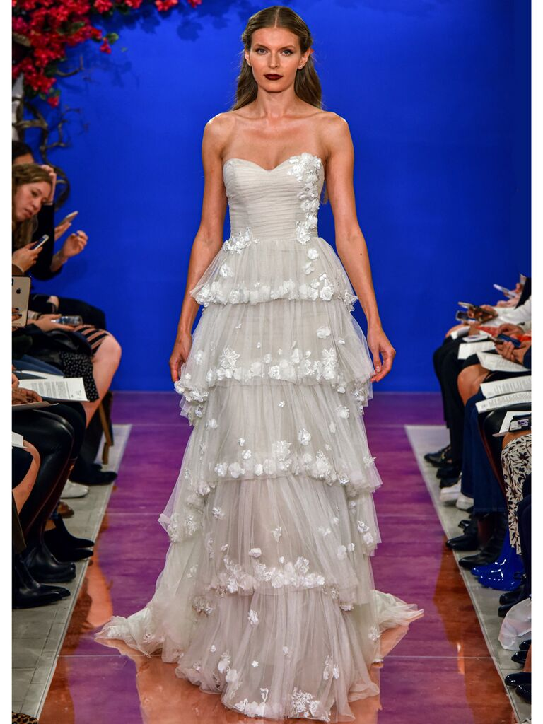 theia wedding dress multi-tiered ball gown