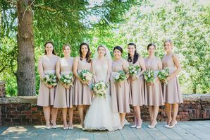 Tan Bridesmaid Dresses With Lace Accents