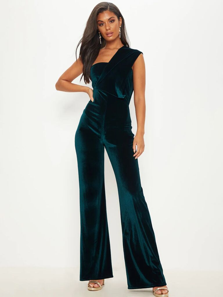 pretty little thing emerald green one shoulder velvet wedding guest jumpsuit with flared plants