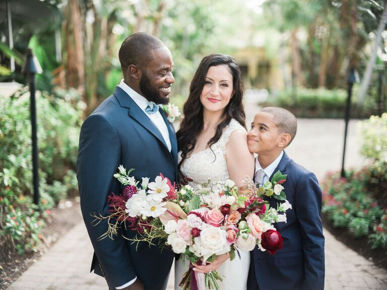 Couple smiling with son