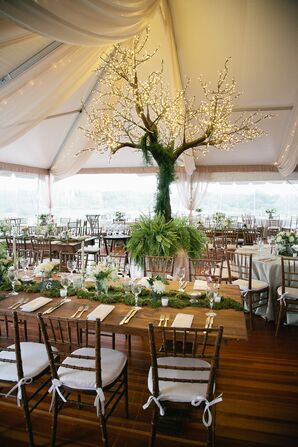 Reception Centerpiece Tree Covered in Lights and Greenery