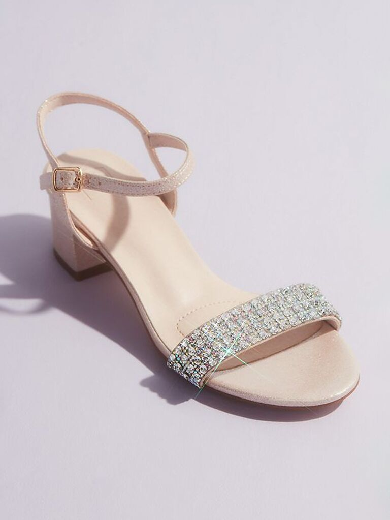 davids bridal nude mother of the groom sandals with crystal strap