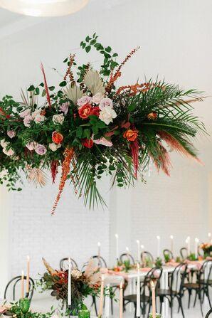 Hanging Floral Chandelier with Bold Color Palette