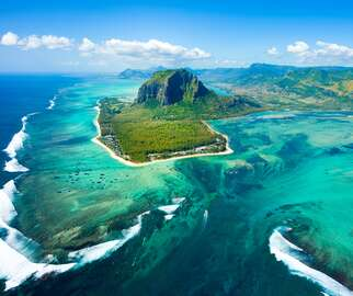 Aerial view of Le Morne Brabant mountain, Mauritius, Africa
