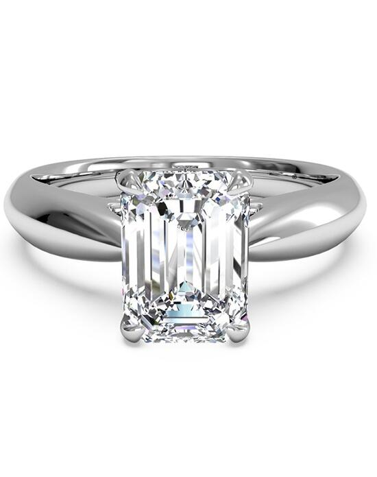 Ritani Solitaire Diamond Cathedral Tapered Engagement Ring - in 14kt White Gold for a Emerald Center Stone Engagement Ring photo