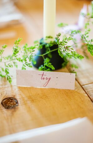 Simple Escort Cards With Pink Calligraphy