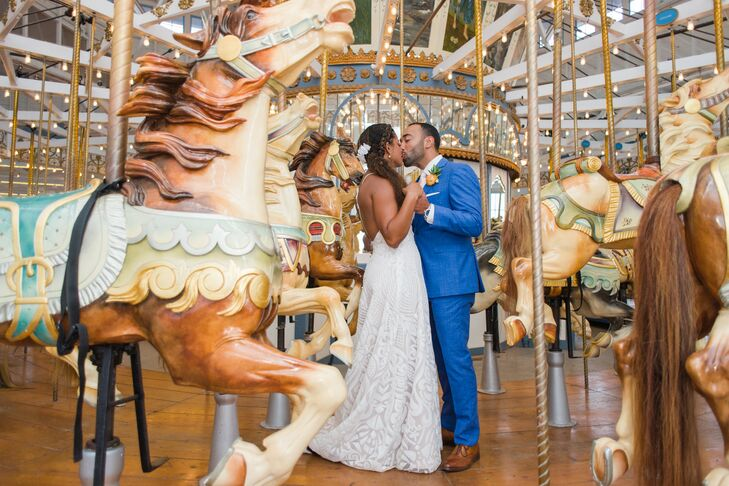 Couple Kiss on Carousel at Wedding in Connecticut