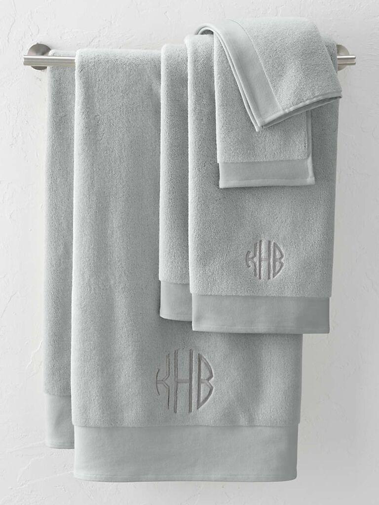 Monogrammed towels bridal shower gift idea