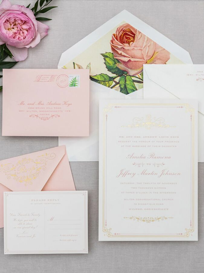 Cheree Berry Paper blue floral wedding invitation suite