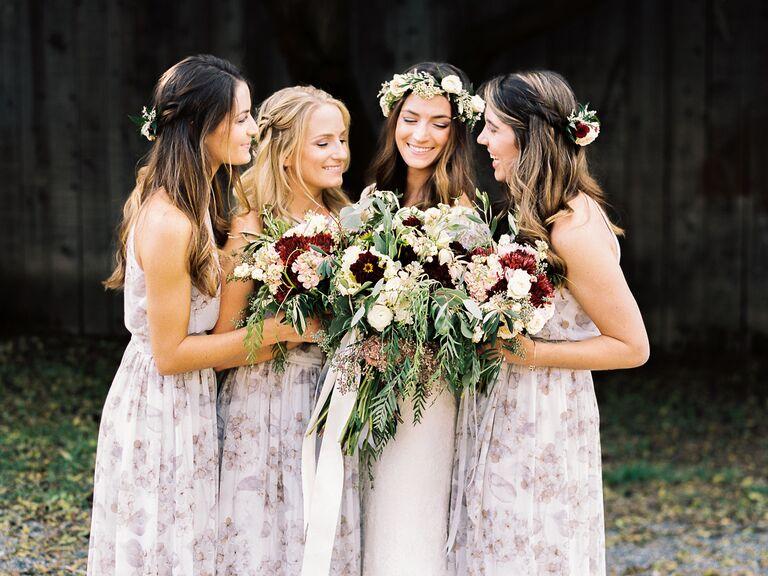 Purple abstract floral print bridesmaid dresses