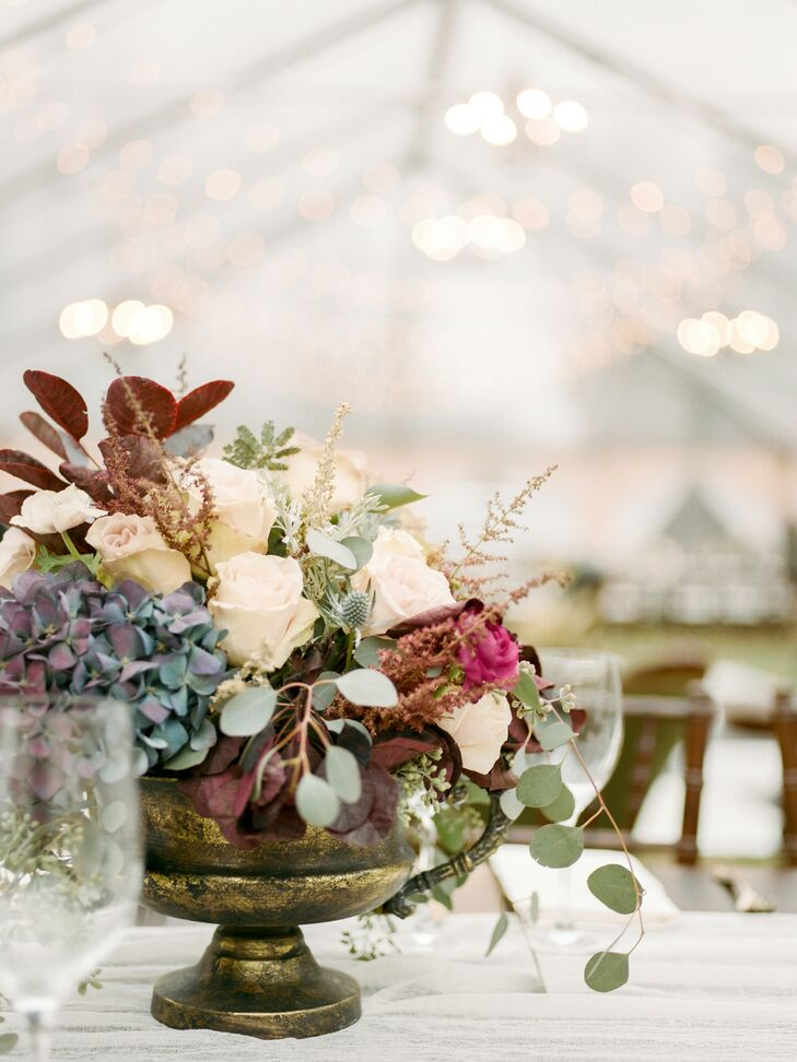 Flowers Filled Thrifted Vases and Served as Wedding Centerpieces