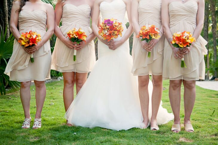 Bright Tropical Orange and Yellow Bridesmaid Bouquets
