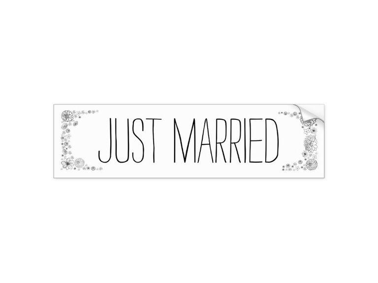 Just married bumper sticker for wedding car