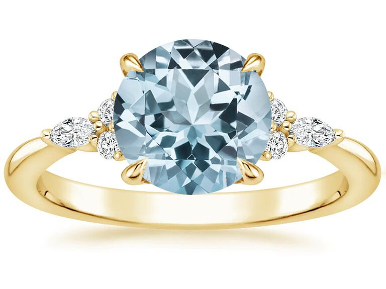 brilliant earth round aquamarine engagement ring with diamonds and gold band