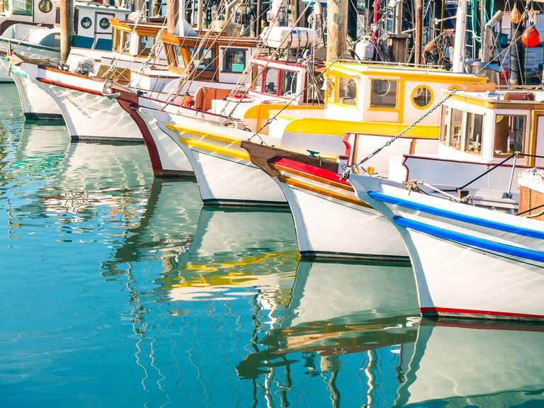 Colorful boats docked at Fisherman's Wharf