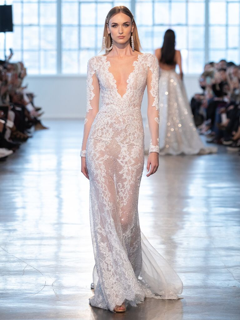 Berta Spring 2020 Bridal Collection sheer long-sleeve wedding dress