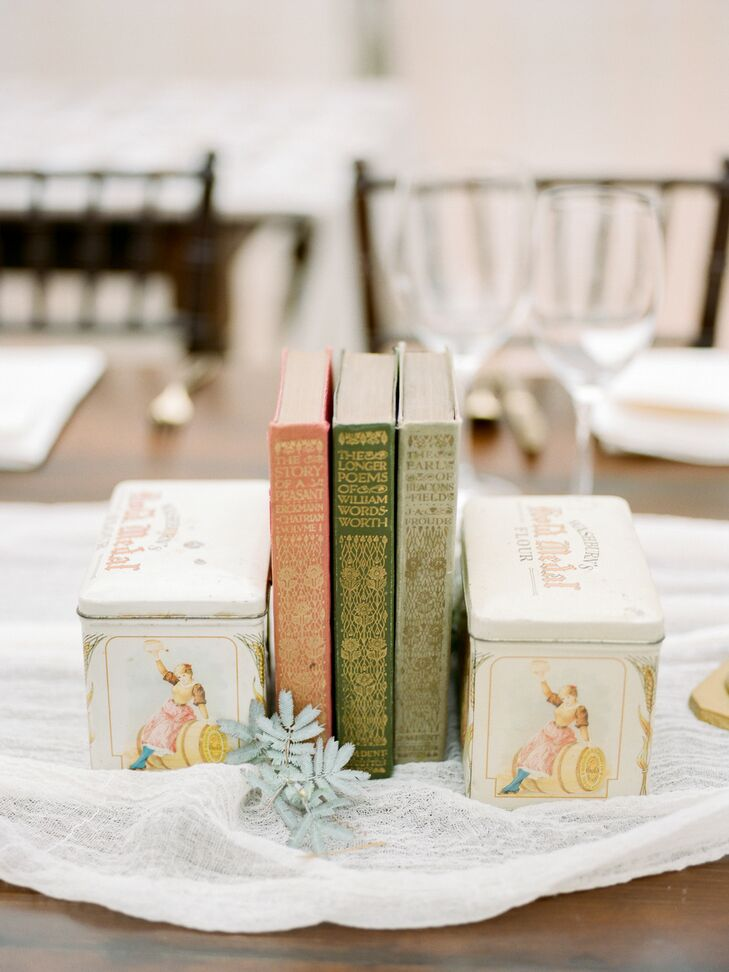 Thrifted Books and Other Vintage Finds as Wedding Decor