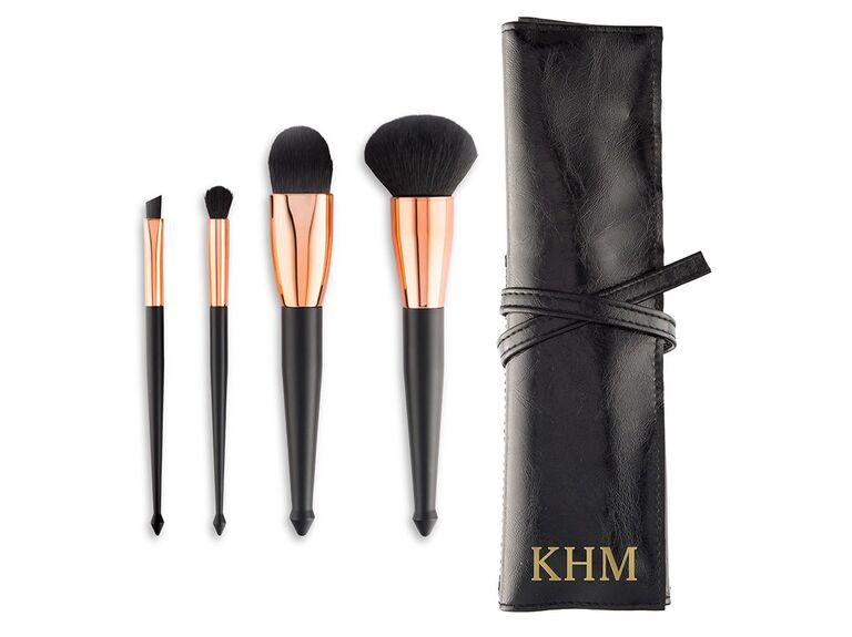 Rose gold and black makeup brush set