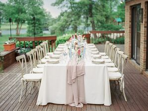 Pastel Reception Table with Taupe Runner at Ohio Wedding