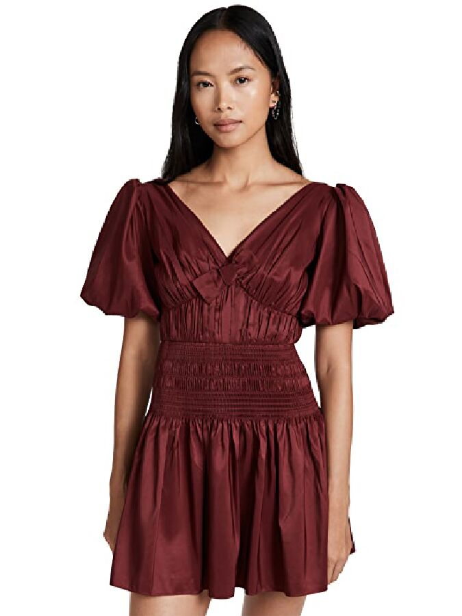 Deep oxblood puff sleeve mini fall wedding guest dress with ruched bodice