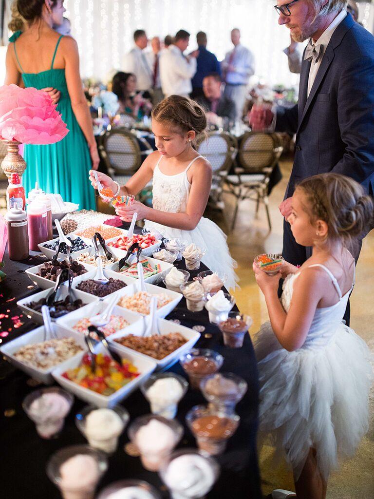 Ice cream sundae dessert station for a wedding reception