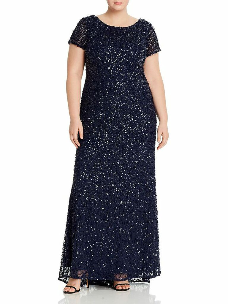 Plus scoop-back embellished gown