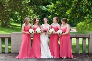 Coral Floor-Length Bridesmaid Dresses