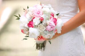 Pink and White Peony and Ranunculus Bouquet