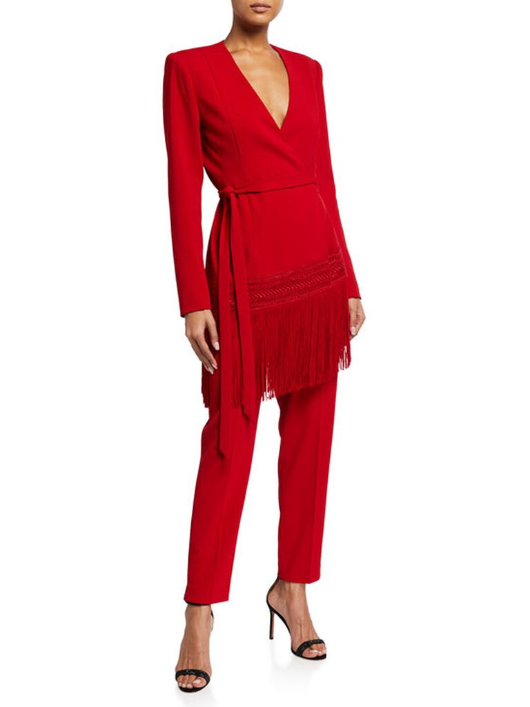 badgley mischka red mother of the bride pant suit with fringe