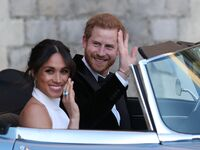 prince harry meghan markle at the wedding reception