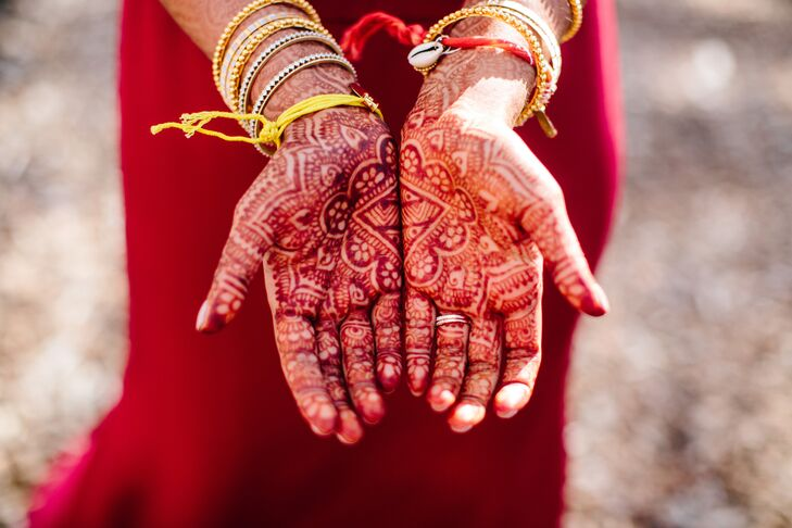 Bride with Traditional Indian Henna Before Ceremony
