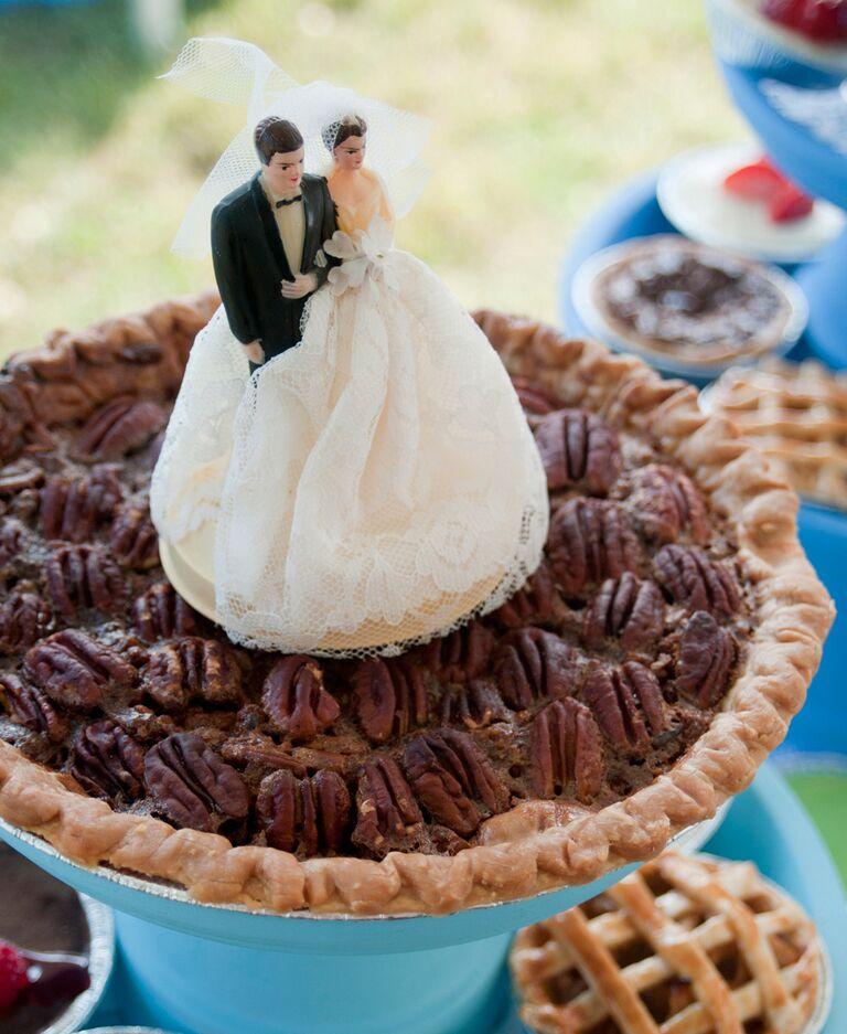Pecan pie wedding dessert with vintage topper