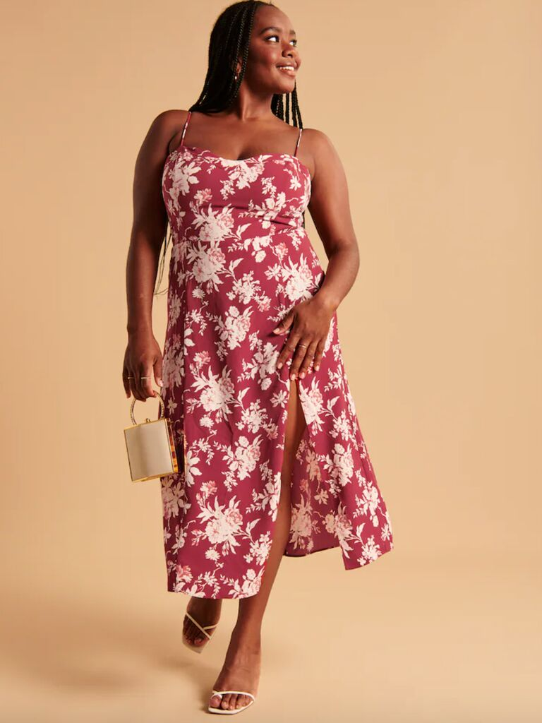 casual wedding attire for women midi floral dress