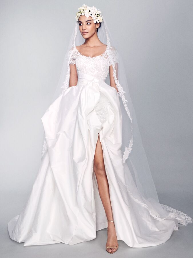 Marchesa short sleeve lace bodice wedding dress