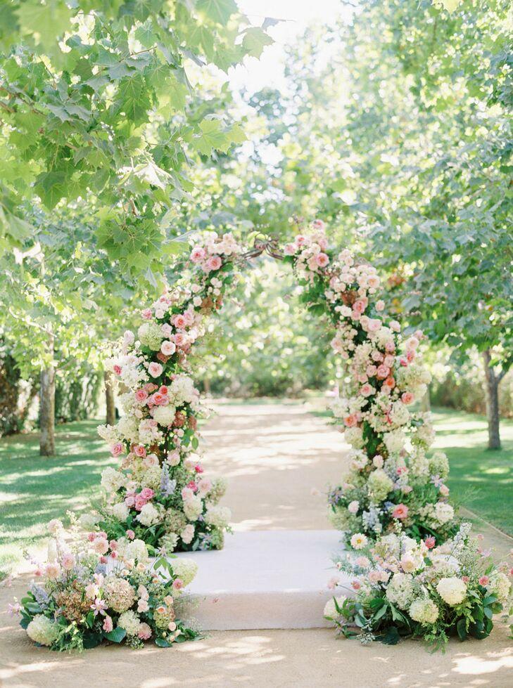 Romantic Flower Arch for Ceremony at Kestrel Park in Santa Ynez, California