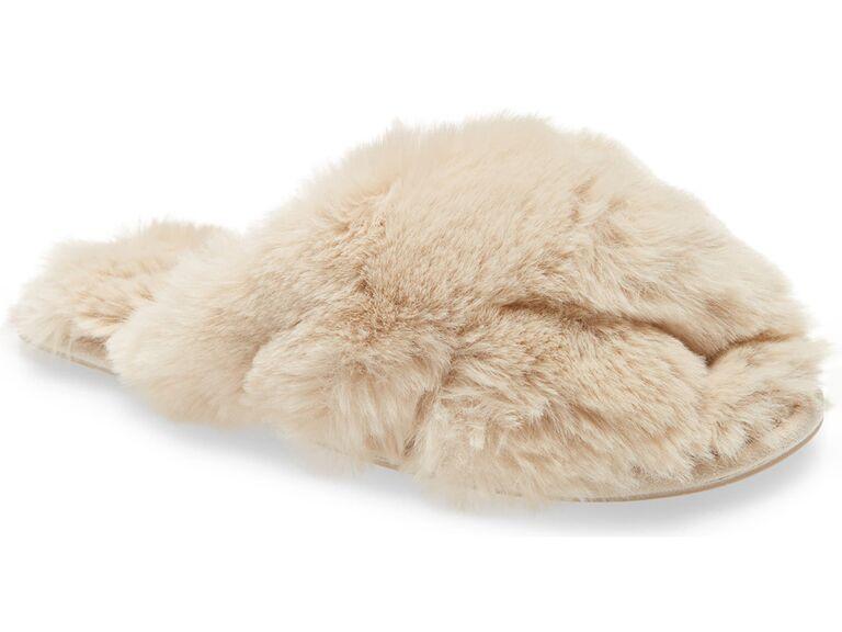 nordstrom cream fur bride slippers