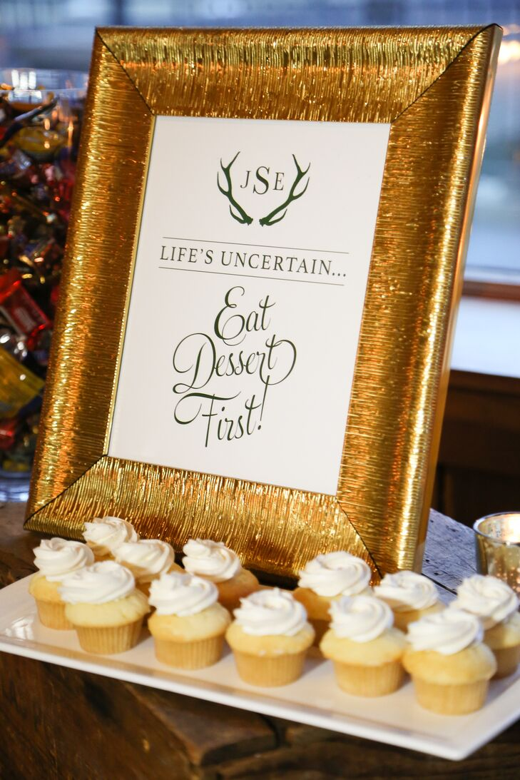 """Three tables filled with dessert and candy were set out after the sunset cocktail hour (before dinner), in honor of Liz's love of dessert. A sign proclaimed, """"Life's uncertain...eat dessert first!"""""""