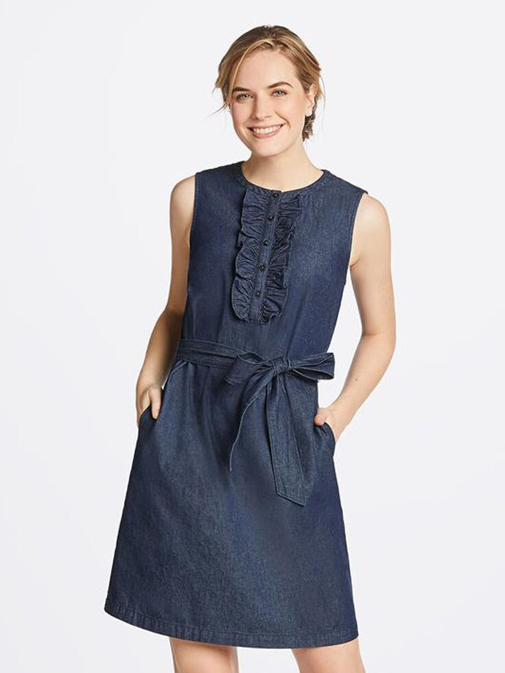 Sleeveless chambray mini dress with ruffles and tie front