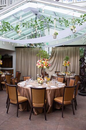 Hanging Mercury Glass Floral Arrangements and String Lights