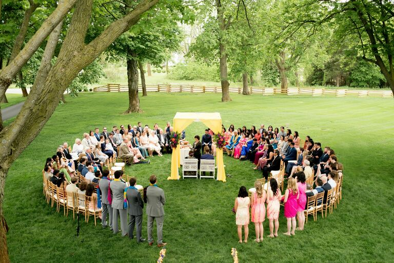 Yellow mandap at ceremony in the round