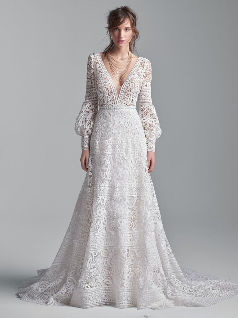 maggie sottero white a line wedding dress with v-neckline lace long puffy sleeves and flowy lace skirt