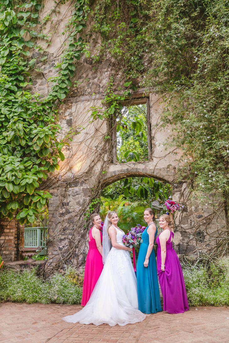 Long Jewel-Tone Bridesmaid Dresses