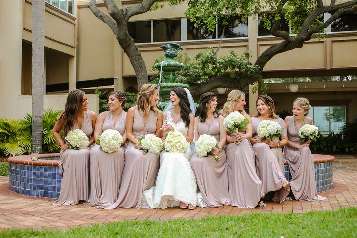 Neutral Floor-Length Convertible Bridesmaid Dresses