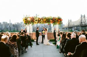 Rooftop Ceremony with Colorful Chuppah at The Bordone LIC in New York
