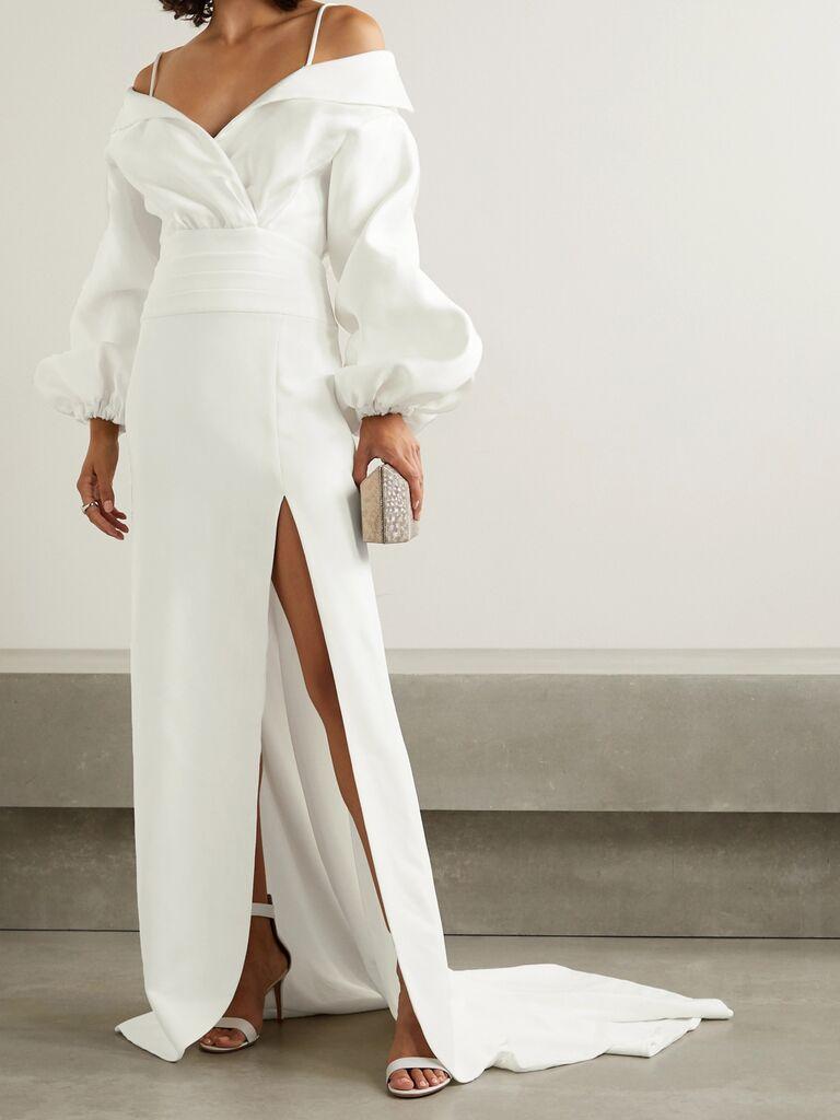 váy cưới tay phồng Váy cưới màu trắng