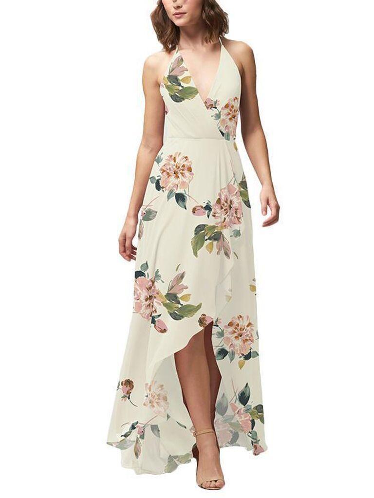 Floral halter neck bridesmaid dress