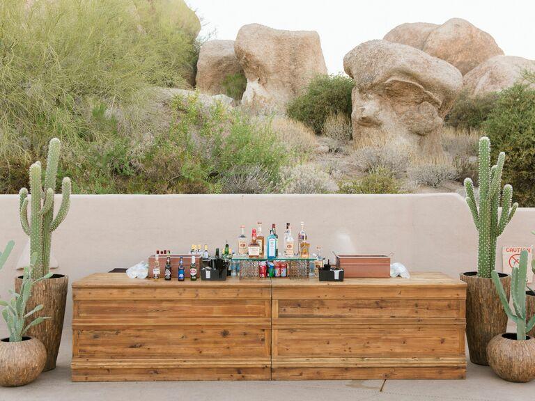 Bar set up at Scottsdale resort with cacti