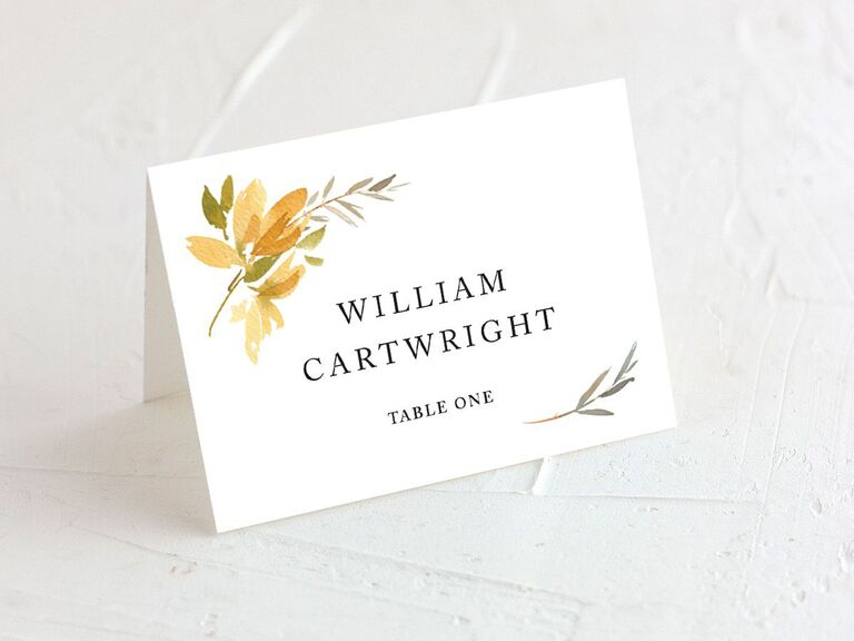 wedding place cards fall theme