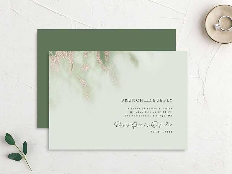 """Green bridal shower invite with """"brunch and bubbly"""" text and sparkly marble detail"""